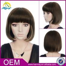Dark brown china wig supplier low density kinky straight european hair wig