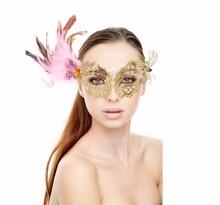 JSR-073 Yiwu Caddy Sexy Gold Masquerade Mask w/ Pink Feathers - Metal Laser Cut Mask Mardi Gras Wedding Halloween Prom