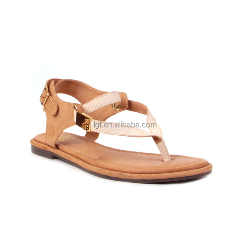 trendy leather flat sandals for fancy slippers
