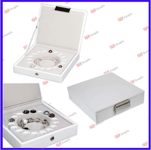Charm Beads Bracelet Stackers Jewellery Box in White leather /leather jewelry box/custom jewelry box C01-14104