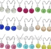 10mm Mixed Hot Chain Crystal Shamballa Set Earring Necklace Pendant