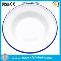 Cheap enamel white salad plate with blue rim