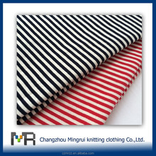 changzhou wholesale 100 cotton single jersey knitted fabric for stripe t shirt