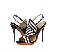 2015 girls sexy women high heel sandals shoes black and white fashion model dress sandals