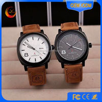 2015 fashion style geunine leather stainless steel watch mens watches chrismas watches