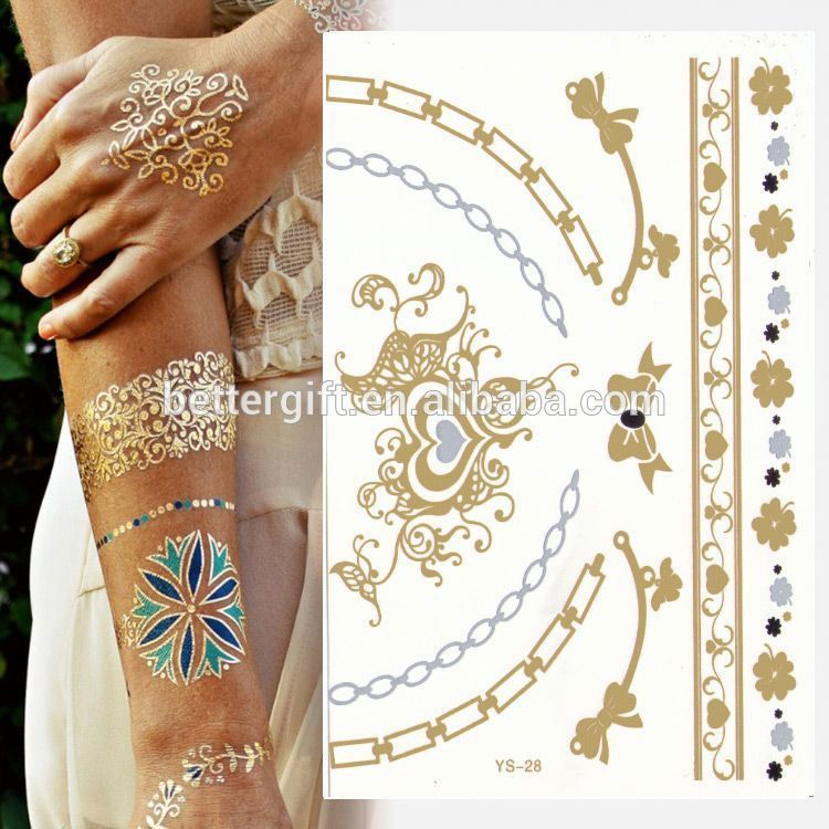 Black white temporary tattoos gold and silver foil for Black gold tattoo