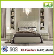 2015 the latest design American luxury furniture white leather diamond bed double leather upholstered bed
