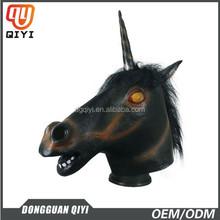 newest design celebration party masks latex black unicorn mask for Halloween