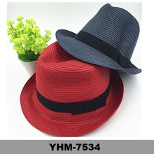 2015 Hot Sell Black Color Paper Straw Fedora Summer Hat