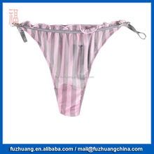High Quality Pink Grey Stripe Women Sexy Bikini T Back Panty002