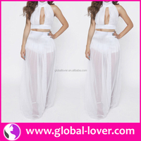 Top quality white halter neck transparent hot sexy women fashion without dress