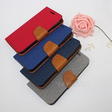 Hot selling contrast color book style linen leather case flip cover for Allview A5 Quad