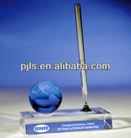 crystal pen stand with globe, crystal pen holder office souvenir