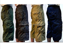 "2015 OEM MENS MILITARY-STYLE 100% COTTON SOLID COLOR 19"" CARGO CAPRI pants, long beach shorts"