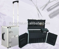 Silver aluminum beauty case for fashion hair travel