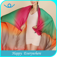 Five colors rainbow lmitated silk ombre scarf