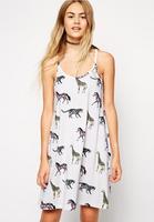 Manufacture custom summer casual dresses spaghetti strap print style fashion women dress