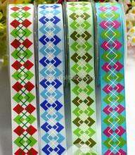Diamond Lattice Custom Grosgrain Ribbon Printed for Garment