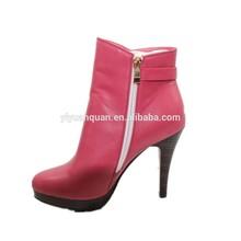 botas rojas de tacón de cuero suave / botas de PU para las mujeres pico botas únicos
