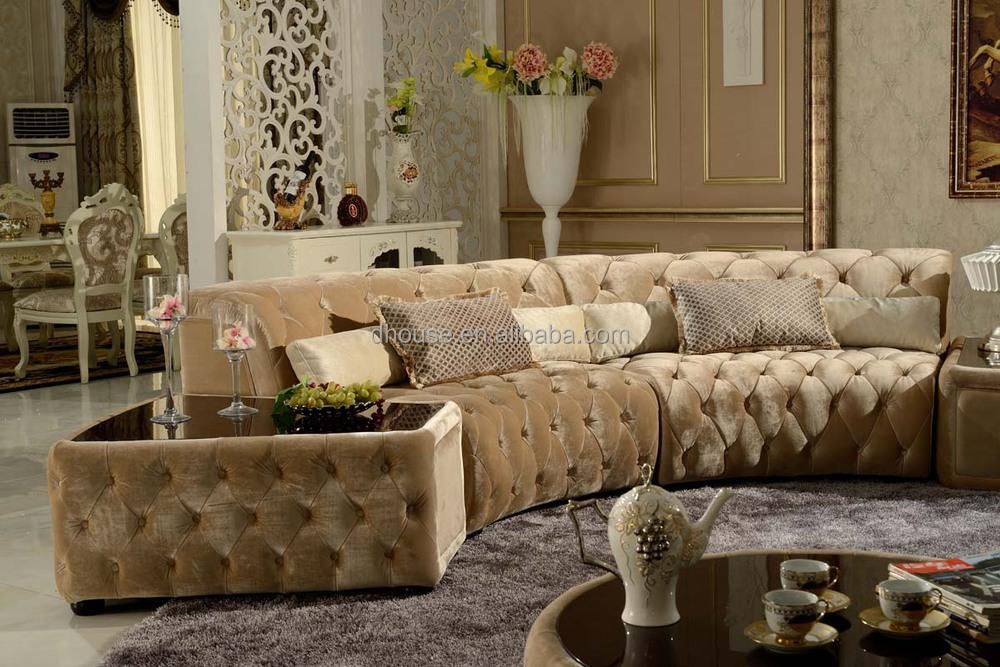 Tufted Design Chesterfield Half Round Corner Fabric Sofa