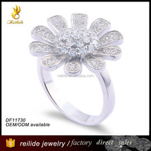 fashion jewelry 2015 Hot Selling Good Looking DF 11730 flower shape big Women Wedding Ring
