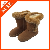 Brown superior unique handmade furry ankle sexy snow winter boot for women