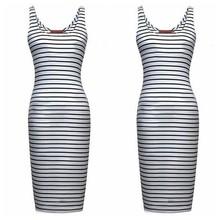 mtw0303 caliente venta al por mayor de las mujeres rayas blanco y negro vestido de algodón para las mujeres