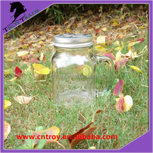 480 ml embossed glass mason jar with handle and cut metal cap stock