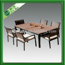 pe rattan dining set with wooden top