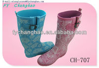 Girls Blue and Red Flower Rain Boots Wellies