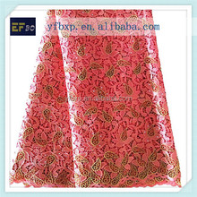 100% polyester materials red nigeria lace/ embroidery designs water soluble african laces for wholesale clothing new york