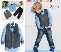 T5130 European boy handsome long sleeve sets ( Blue shirt + vest + jean)