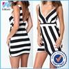 Yihao Trade Assurance 2015 Fashion Sexy ladies Striped Wrap Bodycon Dress