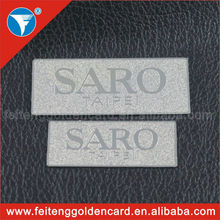 custom design embossed metal name tag with company logo