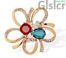Promosi high - end Bros kristal, Merek Austria kristal bunga berongga keluar jaket selendang bros, Fashion perhiasan 6047