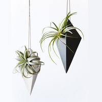 Diamond shape hanging ceramic cheap small handmade concrete flower pot from manufacturer