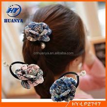 Pearl camellia flowers Hair bands Hair elastic lady bow hair band