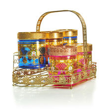 gold decal colorful spraying glass jar popular in Indonesia