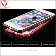 2015 new products Luxury Bling one row Diamond Metal Frame Case for iphone6/6 plus