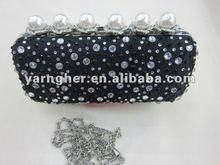 crystal and pearl evening bags black