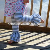 Clothing China Supplier Comfortable Organic Cotton Elastic Waist Legging Kids Girl Boutique Stripe Loose Ruffle Pants