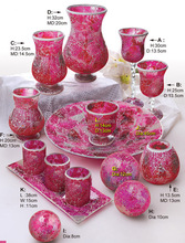 Table Centerpeice Sets Europe Style Home Decoration Red Color Artificial Mosaic Different Types Crackle Glass Vase