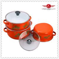 3 pcs enamel cookware set/hot pink cookware set hot selling