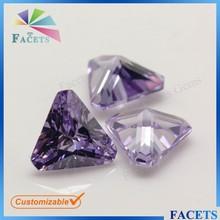 European Machine Cut Lavender Cubic Zirconia Triangle Cut Corner Rough Zircon Price