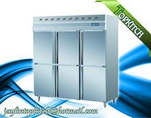 6 Doors Upright Fan Cooling R134a Stainless Steel Danfoss Compressor Freezer