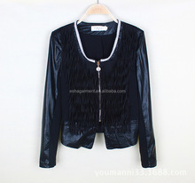 Fashion new design spring/summer coat women 2015 ladies leather jacket with bead round collar jacket wholesale