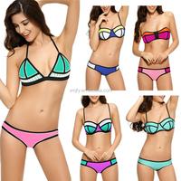 2015 Colour Block Wet Suit Neoprene Bikini Swimsuit