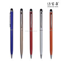 Hot selling customized twist metal slim ballpen with stylus
