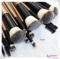 15 pcs High -end Wooden Handle Makeup Brush Set with Natural Hair Makeup Brushes