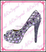 Aidocrystal fashion Italian purple crystal diamond bridal wedding jeweled heel shoes newest women high heels Ladies Pumps Shoes